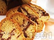 Рецепта Обикновен пухкав бананов кекс (сладкиш) с какао и кисело мляко